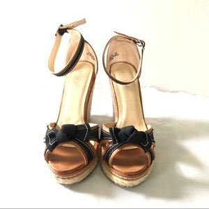 Bamboo   Rattan Wedge Heel Shoes Bows